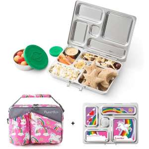 PlanetBox ROVER Eco-Friendly Stainless Steel Bento Lunch Box with 5 Compartments for Adults and Kids