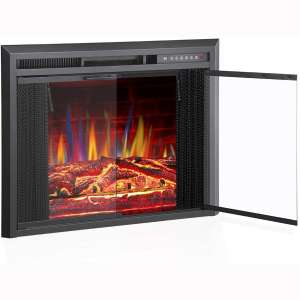 """R.W.FLAME 36"""" Electric Fireplace Insert, Traditional Antiqued Build in Recessed Electric Stove Heater, Glass Door and Mesh Screen"""