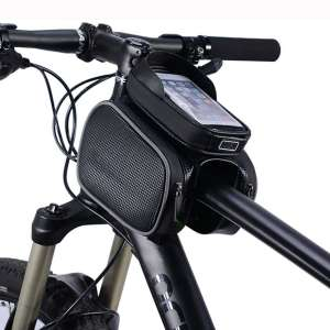 YUE Bike Bag Waterproof Top Tube Phone Bag Front Frame Mountain Bicycle Touch Screen Cell Phone Pouch fits