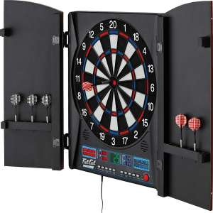 at Cat Electronx Electronic Dartboard, Built In Cabinet, Solo Play With Cyber Player, Dual Screen Scoreboard Display