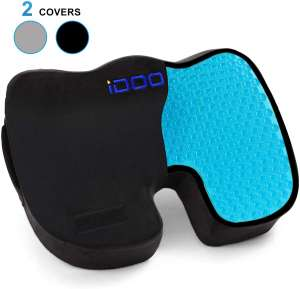 iDOO Cooling Gel Seat Cushion for Office Chair, 100% Memory Foam Gel Seat Cushion, Coccyx Orthopedic Pad for Tailbone Pain