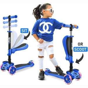 3 Wheeled Scooter for Kids - Stand & Cruise Child:Toddlers Toy Folding Kick Scooters w:Adjustable Height, Anti-Slip Deck, Flashing Wheel Lights, for Boys:Girls 2-12 Year Old