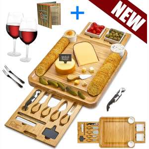 Cheese Board 2 Ceramic Bowls 2 Serving Plates. Magnetic 2 Drawers Bamboo Charcuterie Cutlery Knife Set, 2 Server Forks, Wine Opener, Labels, Markers, Gift