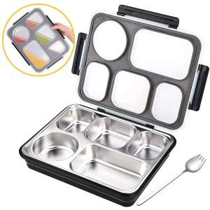 Moikin Bento Lunch Box, Leak-Proof Leakproof Entree Insulated 5 Compartment Lunch