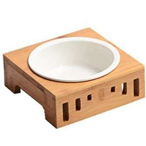 Smith Chu Premium Elevated Pet Bowls, Raised Dog Cat Feeder Solid Bamboo Stand