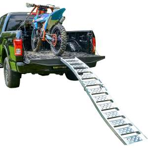 "Budge ""Tru-Grip"" Dual Curved Aluminum Folding Motorcycle Ramp"