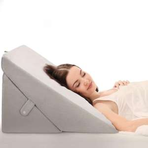 OasisSpace Bed Wedge Pillow, Adjustable 8&12 Inch Folding Memory Foam Sleeping Pillow Incline Cushion System for Legs and Back Pain