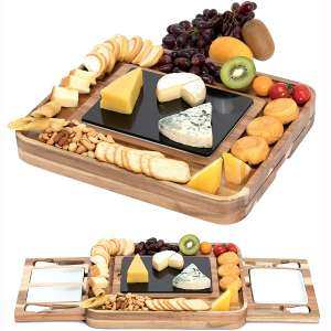 Shanik Acacia Cheese Board Set, Square Shaped Charcuterie Set, Cheese Platter with 2 Slide-Out Drawers, Stainless Steel Cutlery Set, Double Sided Marble Blade, Excellent Gift