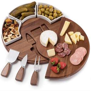 Shanik Upgraded Cheese Cutting Board Set, Acacia Wood Charcuterie Board Set, Cheese Serving Platter, Perfect Meat Cheese Board and Utensil Set