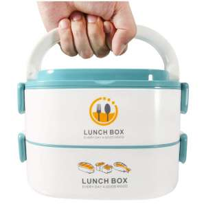 Stackable Bento Lunch Box for Kids & Adults - 2-Tier Leak Proof Stainless Steel Insulated Lunch Box Containers for Women