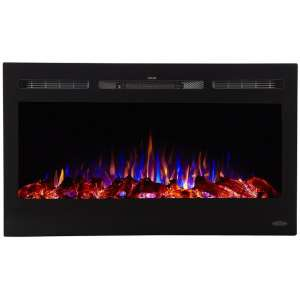 Touchstone 80014 - Sideline Electric Fireplace - 36 Inch Wide - in Wall Recessed - 5 Flame Settings