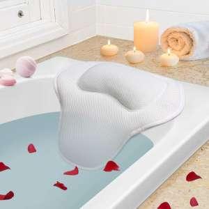 YISUN Bath Pillow - 5D Air Mesh Spa Bath Pillow, Long Bath Pillows for Tub Neck and Back Suppout