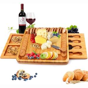 Bamboo Cheese Board and Knife Set, Cheese Servers with Hidden Drawer, Charcuterie Platter and Cheese Serving Tray for Wine, Crackers, Brie and Meat. Perfect