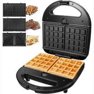 OSTBA Sandwich Maker 3-in-1 Waffle Iron, 750W Panini Press Grill with 3 Detachable Non-stick Plates