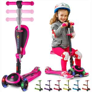 S SKIDEE Scooter for Kids with Foldable and Removable Seat – Adjustable Height, 3 LED Light Wheels, USA Brand 3 Wheels Kick Scooter for Girls & Boys 2-12 Years Old - Y200