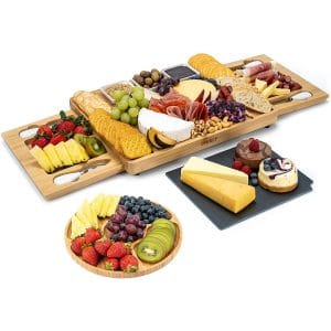 SMIRLY Cheese Board and Knife Set- Large Charcuterie Board Set, Cheese Platter Board, Bamboo Cheese Board with Cutlery Set, Cheese Tray