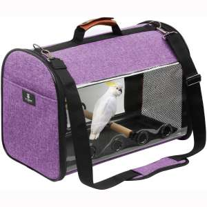 X-ZONE PET Bird Travel Bag Portable Transparent Breathable Travel Cage,Lightweight Bird Carrier,Bird Travel Cage (Carrier-Purple)