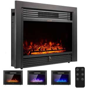 YODOLLA 28.5 Electric Fireplace Insert with 3 Color Flames, Fireplace Heater