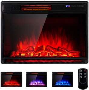 YODOLLA 29 Inch Electric Fireplace Insert, Recessed Mounted & Freestanding Electric Fireplace Heater with Remote Control,Black