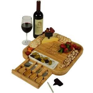 Custom Personalized Engraved Bamboo Cutting Board for Cheese & Charcuterie with Ceramic Dish, Knife Set & Cheese Markers -by Picnic