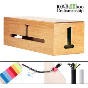 HomeBliss Bamboo Large Cable Box - Stylish Cord Organizer Cable Protection Box