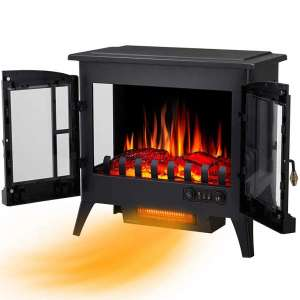 Joy Pebble New Compact Electric Fireplace Heater, Freestanding Stove Heater with Realistic Flame