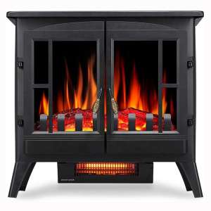Kismile 3D Infrared Electric Fireplace Stove, Freestanding Fireplace Heater With Realistic Flame Effects, Portable Indoor Space Heater