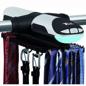Tech Tools Motorized Revolving Tie and Belt Rack with Built in LED Light - Automatic Tie Rack Rotates Forwards & Backwards - Holds 72 Ties and 8 Belts