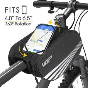 VUP Bike Front Frame, Universal Bicycle Motorcycle Handlebar, Top Tube with 360° Rotation Cell Mobile Holder
