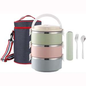 WORTHBUY Lunch Box Stainless Steel, Insulated Compartment Lunch Container for Hot Food, Spoon & Fork Set, Lunch Bag for Adults