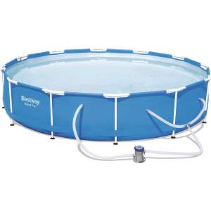 Bestway 56680 Steel Pro, 12ft x 30in, Above Ground Round Frame Pool Set for Kids & Adults