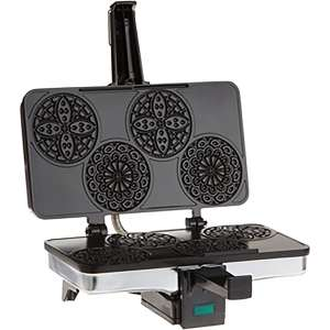 CucinaPro Mini Italian Pizzelle Waffle Maker Iron - Makes Four 3