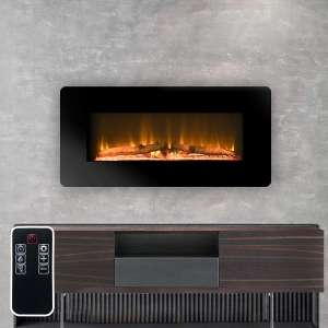 """LOKATSE HOME 36"""" Wall Mounted Electric Fireplace Insert with Remote Control 3 Levels of Realistic Flame Brightness, 1400W, 36 inch, Black"""