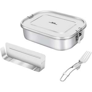 Leakproof Bento Lunch Box, Divided Stainless Steel Lunch Box with Portable Fork for Teenagers and Adults