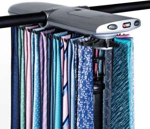 Motorized Tie Rack w Dual LED Lights - Electric Motor Automatically Rotates Up to 72 Ties & 8 Belts, Includes Mounting Kit