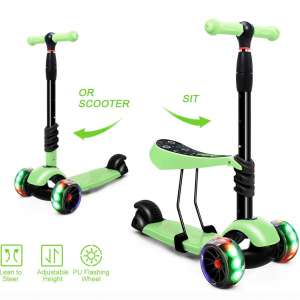 XJD 2 in 1 Toddler Scooter with Removable Seat Scooters for Kids Scooter 3 Wheel Kick Scooters for Girls Boys Adjustable Height Extra Wide PU Flashing Wheels Scooter
