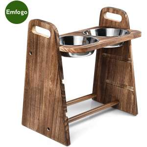 Emfogo Dog Bowls Elevated 3 Heights 4in 8in 13in Rustic Wood Elevated Dog Cat Dishes