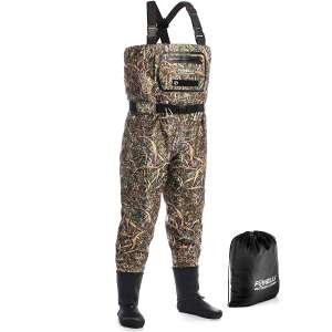 Foxelli Breathable Chest Waders – Camo Fly Fishing Waders for Men, Stockingfoot Waders