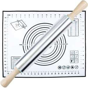 HTB Rolling Pin and Silicone Pastry Mat Set