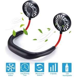 Hands Free Neck Fan Portable Fan Mini USB Personal Rechargeable Sports Wearable Neckband Fan