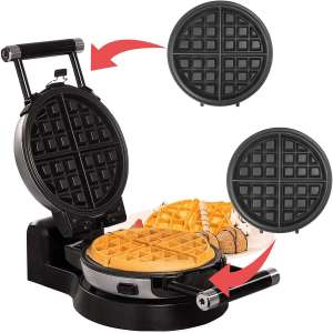 Health and Home Upgrade Automatic 360 Rotating Belgian Waffle Maker with Removable Plates