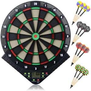 Miuko Electronic Dart Board, Electronic Dartboard, Soft Tip Dartboard Set LCD Display Scoreboard
