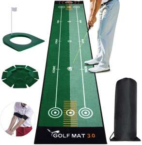 Tresbro Putting Green Indoor, Golf Putting Mats with Plastic Golf Putting Cup and All-Direction Putter Cup and Training Aid Arm Band, Bidirectional Golf Practice Mats