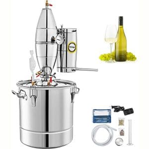 VEVOR 110V Water Alcohol Distiller 20L 5.28 Gal Moonshine Wine Making Boiler Home Kit 304 Stainless Steel with Thermometer Perfect for Whiskey Brandy