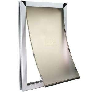 XL Silver Dog Door - Single Flap Door Mounted Energy Efficient Doggie Door