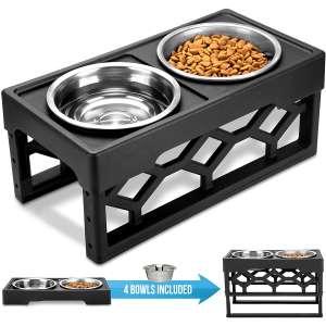 AVERYDAY Raised Dog Bowls Dog Bowls Elevated - 4 Adjustable Dog Bowl Stand