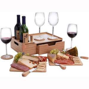MV Bamboo Wine & Cheese Serving Tray PLUS Drawer for EXTRA storage INCLUDES Coasters, Cheese Knives, Serving Boards & Handles
