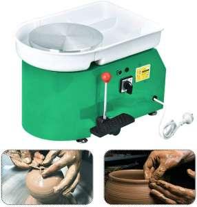 Mein LAY Pottery Wheel Forming Machine 25CM Electric Pottery Wheel DIY Machine with Foot Pedal for Ceramic Work Clay Art Craft 110V 350W (Green)