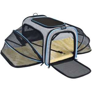 OMORC Pet Carrier Airline Approved, Expandable Foldable Soft-Sided Dog Carrier, Cat Carrier with 3 Open Doors