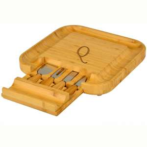 Picnic at Ascot Personalized Monogrammed Engraved Bamboo Cutting Board for Cheese & Charcuterie with Knife Set & Cheese Markers- Designed